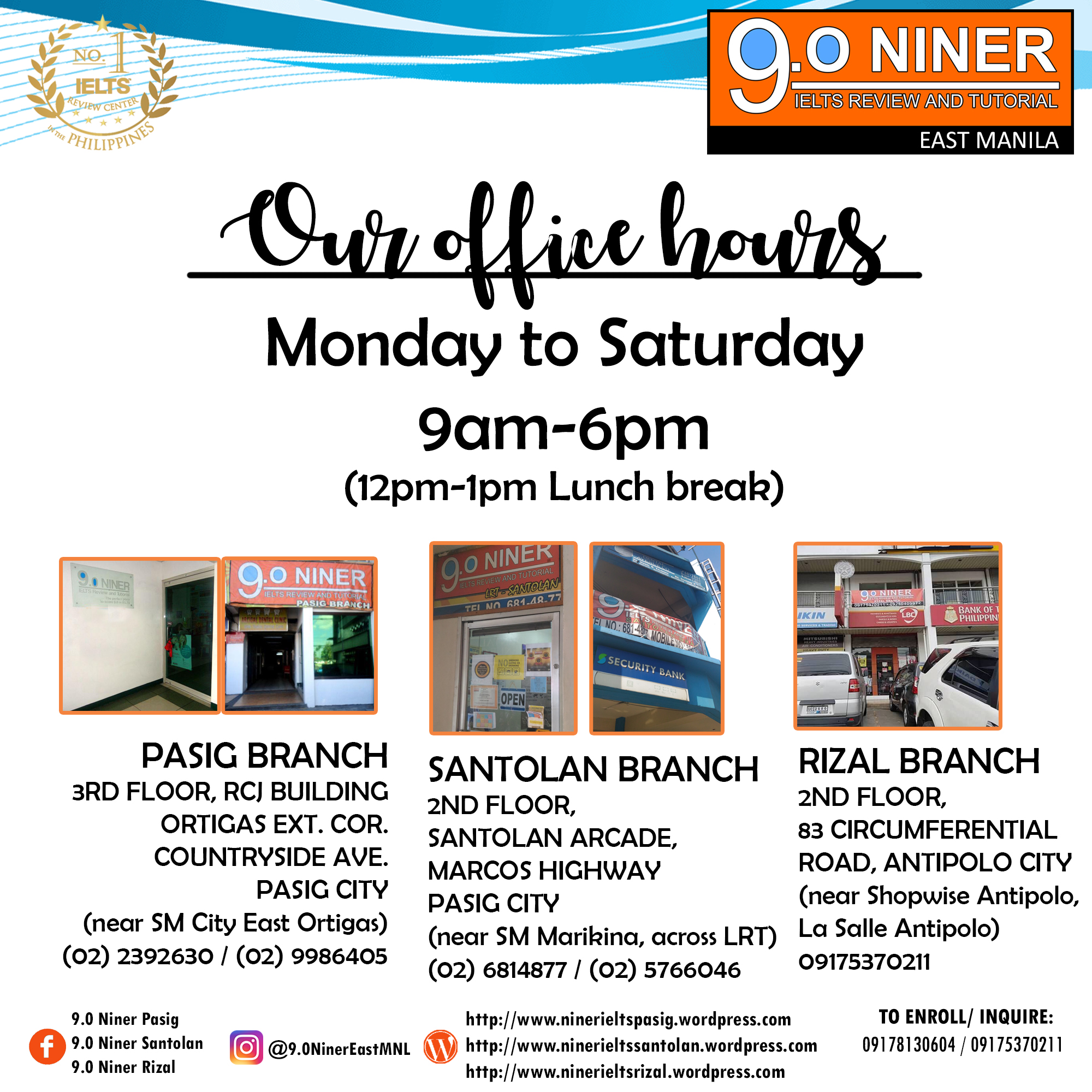 Branches – 9.0 Niner IELTS Review East Manila