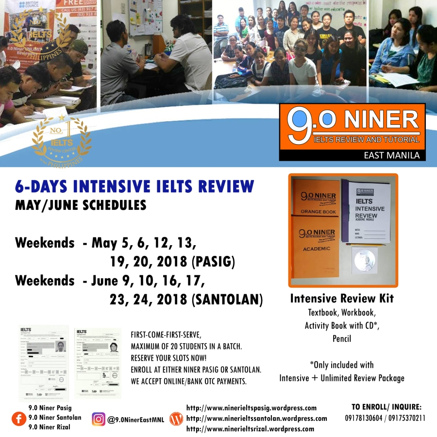 MAY/JUNE 2018 Intensive Review Schedules – 9.0 Niner IELTS Review ...